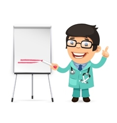 Doctor with marker in front of the flipchart vector