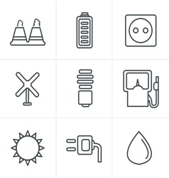 Line icons style black eco energy icons vector