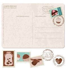 Cupcakes postcard with stamps vector