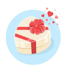 Gift box in heart shape on blue backgroun vector