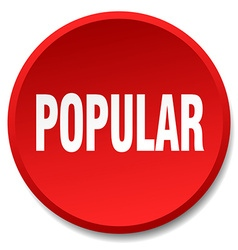 Popular red round flat isolated push button vector