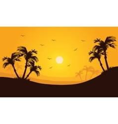 Silhouette of palm in hills scenery vector
