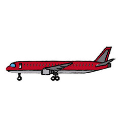 Airplane side view travel passenger commercial vector
