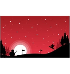 At night christmas landscape with snowman vector