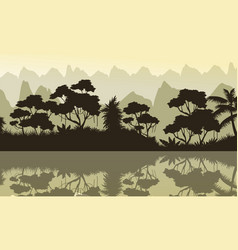 Beauty scenery of jungle and lake silhouette vector