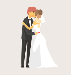Bride and groom kissing at wedding ceremony vector