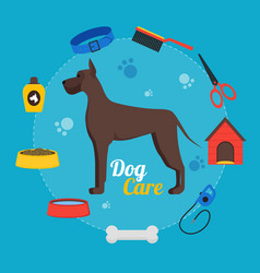 Cartoon dog care concept vector