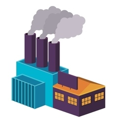 Colorful big industry with three fireplace vector