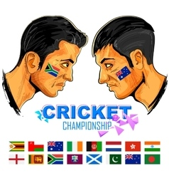 Cricket players of cricket championship vector image vector image