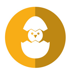 Cute easter egg chick shadow vector