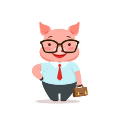 cute smiling pig businessman funny cartoon animal vector image vector image