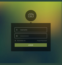 Dark login form with line camera icon on blurred vector