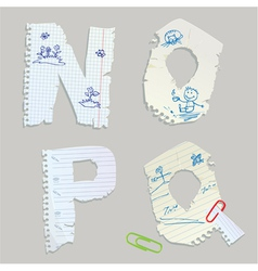 English alphabet - letters are made of old paper vector image