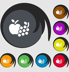 Fruits web icons sign Symbols on eight colored vector image