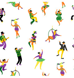 Mardi gras seamless pattern with funny dancing vector