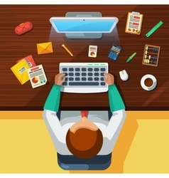 Office work place accountant flat banner vector