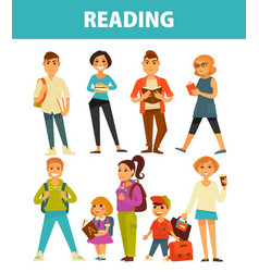 people reading books young and adults flat vector image