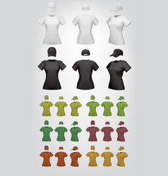 plain female t-shirt and cap template vector image