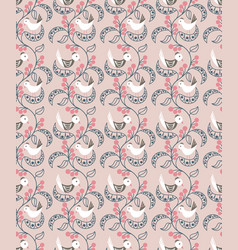 seamless pattern with berries leaves and birds vector image
