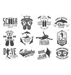 Set of scuba diving club and diving school design vector
