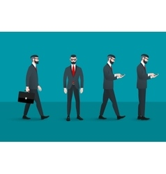 Set of trendy nerd hipster businessmans abstract vector