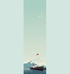 Vertical landscape with ship in clear day vector