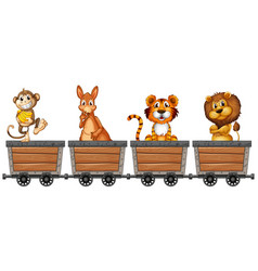 Wild animals in mining carts vector