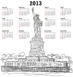 statue of liberty 2013 calendar vector image