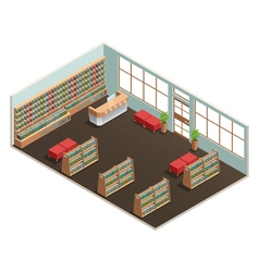 Library interior isometric vector