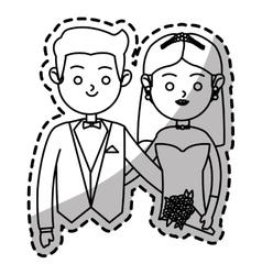 Isolated bride and groom design vector