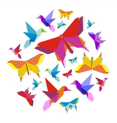 Spring origami bird and butterfly circle vector