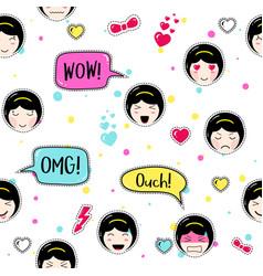 anime style seamless pattern cute emoji girls vector image