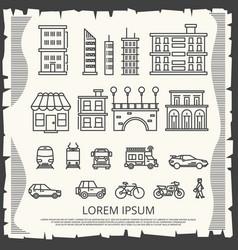 Modern city elements on vintage poster - line art vector