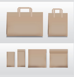 Paper shopping bag brown various sizes vector
