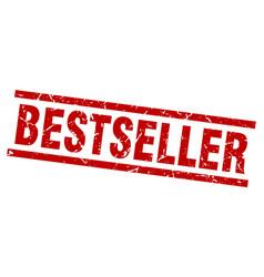 square grunge red bestseller stamp vector image