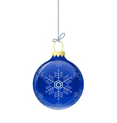 Blue glass christmas ball vector image