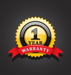One year warranty emblem vector