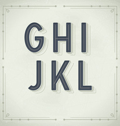 Retro font from g to l vintage typography vector