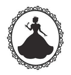 Princess in a magnificent dress in a retro frame vector