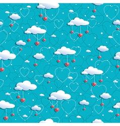 Clouds and hearts vector