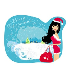 Winter girl with gift bag vector