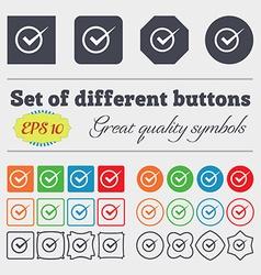Check mark sign icon checkbox button big set of vector
