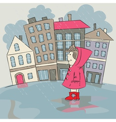 Child in the rainy city vector