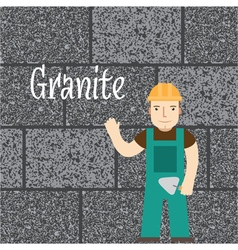 Worker at the granite wall vector