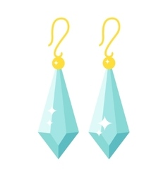 Emerald earrings beautiful gold accessory isolated vector