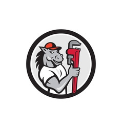 Horse plumber monkey wrench circle cartoon vector