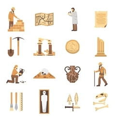 Archeology icons set vector