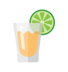 Short glass of tequila and lime vector
