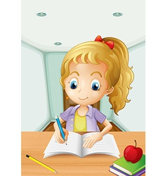 A girl with an apple at the top of a book vector image