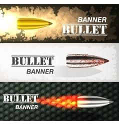 Banner of flying bullet ob military background vector image